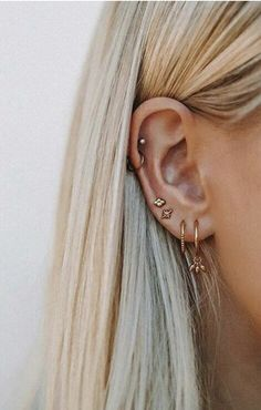 mini hoops + gold studs | ear piercing ideas
