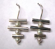 Sterling Silver Tube and Pearl Earrings by AngieMeyersDesigns, $60.00