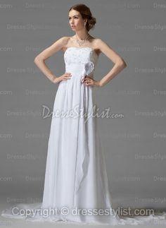Strapless Chiffon Chapel Train White Appliques Wedding Dress
