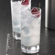 Cherry Collins:  2 oz Grey Goose Cherry Noir Flavored Vodka .75 oz Fresh lemon juice .75 oz Simple syrup (one part sugar, one part water) Club soda Garnish: Cherry Add the vodka, lemon juice and simple syrup to a highball glass filled with ice. Fill with club soda and garnish with a cherry. CHEERS!