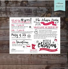 Merry Christmas Photo Holiday Card, Infographic card, Christmas card, Photo Christmas card, Christmas newsletter, Year in review