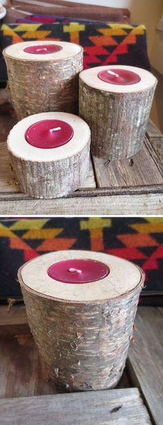 Fallen Tree Tea Light Candle Holder #diy #repurpose #recycle