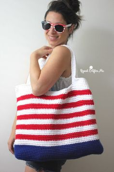 Crochet Patriotic Tote BagI would do black and white....