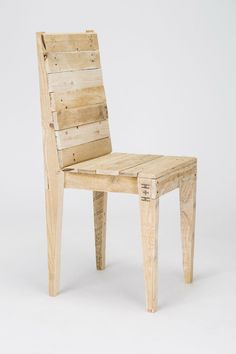 A bold, handmade reclaimed timber chair. Made with comfort in mind, this chair is handmade using solid reclaimed timber. It is lightweight and Pallet Chair, Wooden Pallet Furniture, Diy Chair, Rustic Furniture, Wood Pallets, Diy Furniture, Pallet Wood, Plywood Furniture, Modern Furniture