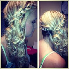 Semi-Formal Hair  Curled with wand, side connecting braids (i didn't take this picture) lol but if my hair wasn't down to my shoulders i would totally do this...
