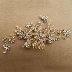 Vintage Gold Wedding Party Hair Comb Crystal Vine Bridal Accessories Handmade