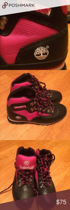 Timberland Boots Women's Size 8.5 Pink, Black, and White Timberland Boots. Worn 2-3 times. Great Condition. Great as a Christmas Gift. OFFERS ACCEPTED. Timberland Shoes Winter & Rain Boots