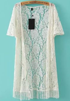 SheIn offers Beige Short Sleeve Fringe Lace Cardigan Kimono & more to fit your fashionable needs. Moda Kimono, Lace Kimono, Kimono Style, Kimono Fashion, Boho Fashion, Fashion Outfits, Fast Fashion, Fashion Online, Moda Boho
