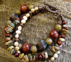 Three Strand Layered Jasper and Pearl Bracelet with by Sewartzee