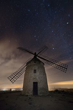 Don Quixote - Starry sky and windmill, Spain
