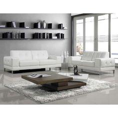 JNM- Manhattan Italian White Leather Sofa & Love Seat