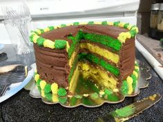 Love having the inside colored too!  John Deere Smash Cake