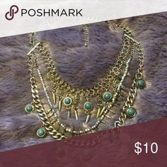 SILVER TURQUOISE STATEMENT NECKLACE Three layered necklace on one chain Jewelry Necklaces