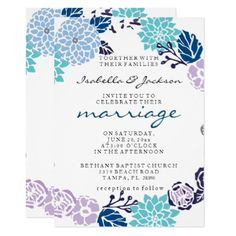 Vintage Lavender & Blue Garden Wreath Wedding Card  $1.90  by Magical_Weddings  - cyo customize personalize unique diy idea
