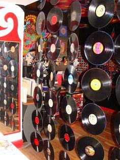 Custom Mandala Room Divider made from 35 Painted Vinyl Records - Tribal Inspired Geometry. $1,400.00, via Etsy.