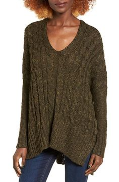 Free shipping and returns on Love by Design Marled Cable Knit Pullover at Nordstrom.com. Chunky cables and marled yarns richly texture an oversized V-neck sweater further relaxed by dropped shoulders and a vented high/low hem.