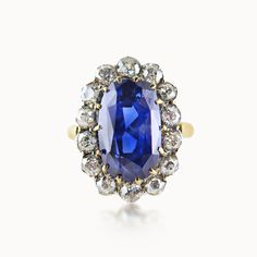 SAPPHIRE AND DIAMOND CLUSTER ENGAGEMENT RING EXCLUSIVELY AT HUMPHREY BUTLER…