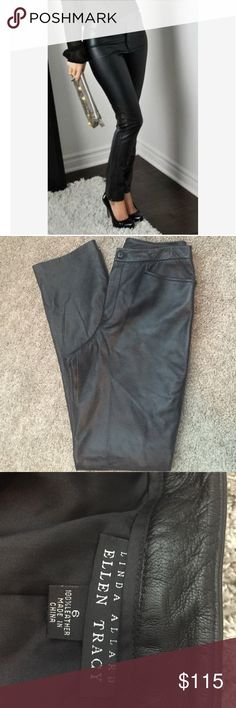 ❗️Genuine Leather Pants Ellen Tracy❗️ 100% Leather fully lined with pockets I excellent condition Ellen Tracy Pants Trousers