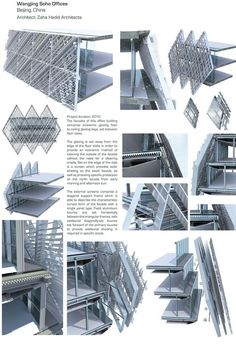 """"""" ZAHA HADID - Wangjing Soho Offices, Beijing top: sectional detail views of the facade and its attachment to the building.the buildings are wrapped in. Architecture Design, Facade Design, Computer Architecture, China Architecture, Minecraft Architecture, Building Skin, Building Facade, Zaha Hadid, Facade Engineering"""