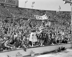 Nottingham Forest fans cheer on their team at the 1959 FA Cup Final at Wembley