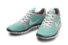 Womens - Nike Free 3.0 V1 Green Grey White