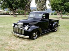 1946 chevy half ton... Karine's truck :D with blacked out back and side windows.