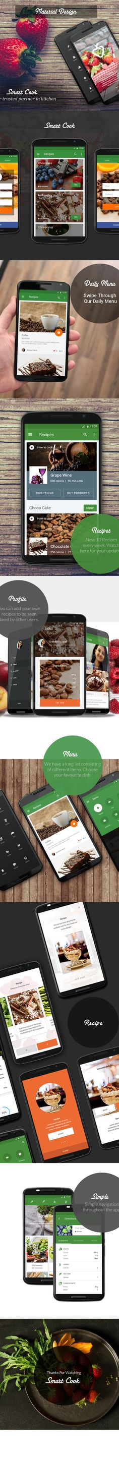 Unsolicited Material design concept of an food cooking app. Mobile Web Design, App Ui Design, Interface Design, Beacon App, Android App Design, Mobile App Templates, Cooking App, Mobile App Ui, Ui Inspiration