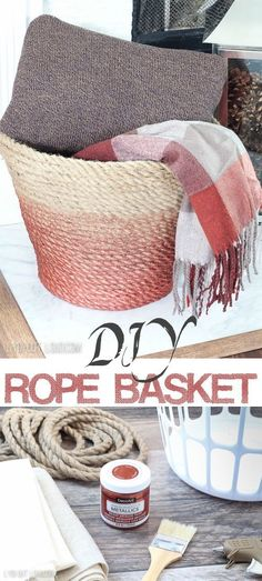 Turn an old laundry basket into a beautiful rope basket! This easy craft idea is. - Turn an old laundry basket into a beautiful rope basket! This easy craft idea is. Turn an old laundry basket into a beautiful rope basket! This easy. Rope Crafts, Easy Diy Crafts, Diy Home Crafts, Decor Crafts, Simple Crafts, Homemade Crafts, Diy Para A Casa, Diy Casa, Diy Craft Projects