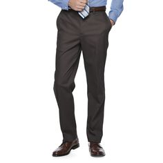 Men's Croft & Barrow® Classic-Fit Flat-Front No-Iron Stretch Pants, Size: 29X30, Dark Grey