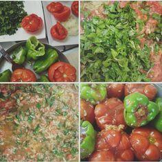 Συνταγή για ντομάτες και πιπεριές γεμιστές με ρύζι και μυρωδικά! – Kasarolla – Συνταγές για φαγητά και γλυκά Stuffed Peppers, Vegan, Vegetables, Food, Stuffed Pepper, Essen, Vegetable Recipes, Meals, Vegans