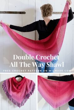 Easy crochet shawl pattern: Double Crochet All The Way Shawl - - Looking for a free easy crochet shawl pattern? Here you can find the Double Crochet All The Way Shawl by Wilmade which only uses a basic stitch called double crochet. Crochet Shawl Free, Crochet Shawls And Wraps, Crochet Stitches, Knit Crochet, Crochet Hats, Free Knitting, Dishcloth Crochet, Crochet Granny, Knitting Ideas