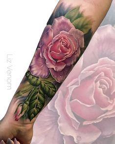 Beautiful pink rose tattoo by Liz Venom. . . . . . Tattoo, tattoos, ink, art, roses, feminine, girly, women, perfect, best, inked, tattooed, floral, flowers, vintage, botanical, tea rose, amazing, Canada, artist, Tattooer, bombshell galerie.