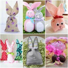 Lembrancinhas para Páscoa em Tecido com Moldes Easter Crafts, Burlap, Bunny, Christmas Ornaments, Sewing, Holiday Decor, Cards, Craft Armoire, Toddler Arts And Crafts