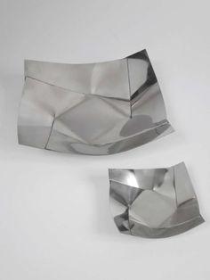 Bruno Munari; Polished Nickel Silver 'Maldeve' Bowls for Danese, 1960.
