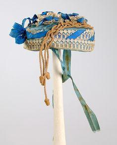 Bonnet Date: ca. 1865 Culture: American Medium: Silk, linen, straw