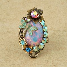 Pink Harlequin Opal Ring Teal Dragonfly Ring Opal Ring Flower Bee Filigree Victorian Ring Rhinestone Cocktail Ring