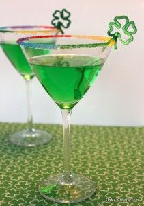St Paddys martini- recipe for green apple martini and garnish with shamrock and rainbow sugar crystals