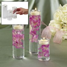 Just add silk flowers, tealights and water.  11.50 for all three on e-bay. I say dollar tree!