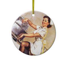 Vintage Retro Gil Elvgren Nurse Pin Up Girl Christmas Ornament