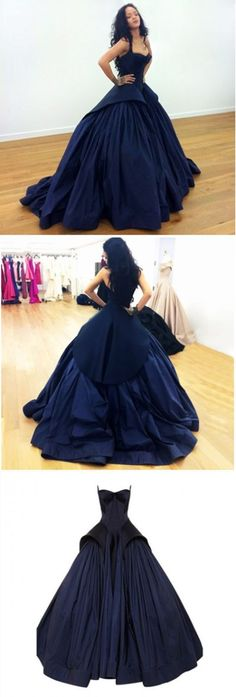 Chic Prom Dresses Sweetheart Sweep/Brush Train Taffeta Sexy Prom Dress/Evening Dress JKL313 #prom #promdress #evening #eveningdress #dance #longdress #longpromdress #fashion #style #dress #darknavy #Sweetheart