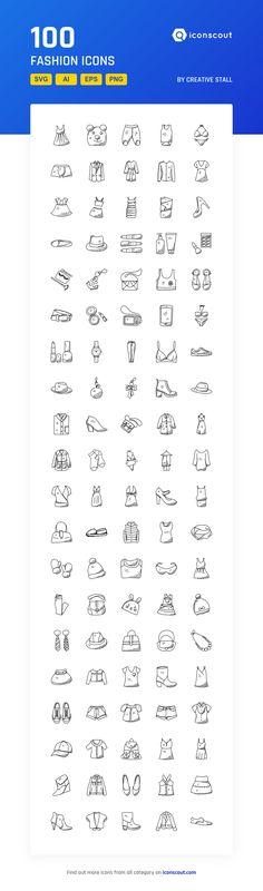 Fashion   Icon Pack - 100 Handdrawn Icons