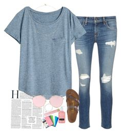 """Going to the movies with my bestie tomorrow!!"" by aehello ❤ liked on Polyvore featuring rag & bone/JEAN, H&M, Birkenstock, LMNT, Loren Stewart, Sydney Evan and Five Star"