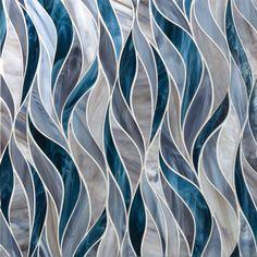 Artistic Tile - (Tailored To) Water Jet with Detroit Brown and Denim Blue - Medium Blue Glass Tile Blue Glass Tile, Glass Art, Glass Tiles, Wood Tiles, Mosaic Glass, Shower Remodel, Bath Remodel, Artistic Tile, Motif Floral