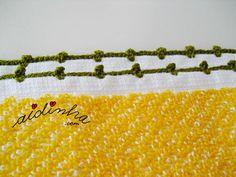Pormenor do picô de crochet dos lados do pano turco