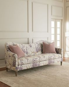 Updated floral sofa with solid velvet pillows that aren't match match with the sofa fabric. Lila Camel-Back Style Floral Sofa Furniture Ads, Classic Furniture, White Furniture, Shabby Chic Furniture, Luxury Furniture, Furniture Design, Metal Furniture, Garden Furniture, Office Furniture