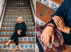On the stairs at La Arcada, Jaime Heer models Joes Jeans from Pierre Lafond Sportswear, and a navy cashmere poncho, tapestry clutch, bracelets and necklace by Angel, along with shoes by Woman by Common Projects from Whistle Club. Photo by Cara Robbins. http://sbseasons.com/2015/09/style-file-crushing-it-this-fall/ #sbseasons #sb #santabarbara #SBSeasonsMagazine To subscribe visit sbseasons.com/subscribe.html