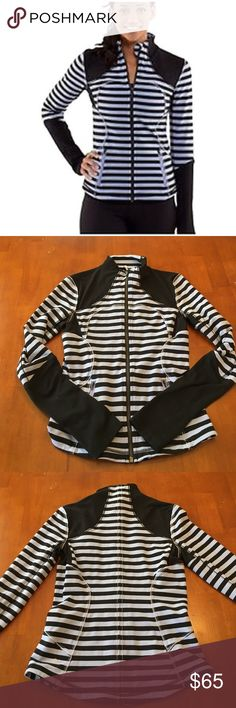 Lululemon Forme Jacket Sea Stripe Polar Haze Gently Used. In excellent condition. No stains, rips, tears, etc. periwinkle blue & black colors. Lululemon Size 6 fits more like a size 4. lululemon athletica Jackets & Coats