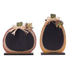 2 Piece Burlap/Wooden Pumpkin Chalkboard Decor Set