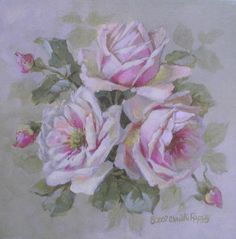 Christie Repasy Chelsea Rose Original Canvas Print, featuring a pink rose, this canvas print is an original painting by Christie Repasy. Floral Rosa, Arte Floral, Romantic Artwork, Heirloom Roses, Rose Images, Romantic Roses, Painting Gallery, China Painting, Rose Art