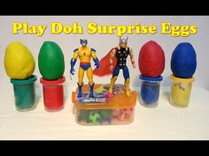 Play-Doh Superheroes Surprise Eggs with Wolverine, Thor, Power Rangers  ...